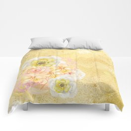 Yellow Floral Watercolor Comforters