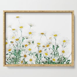 white margaret daisy horizontal watercolor painting Serving Tray