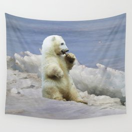 Cute Polar Bear Cub & Arctic Ice Wall Tapestry
