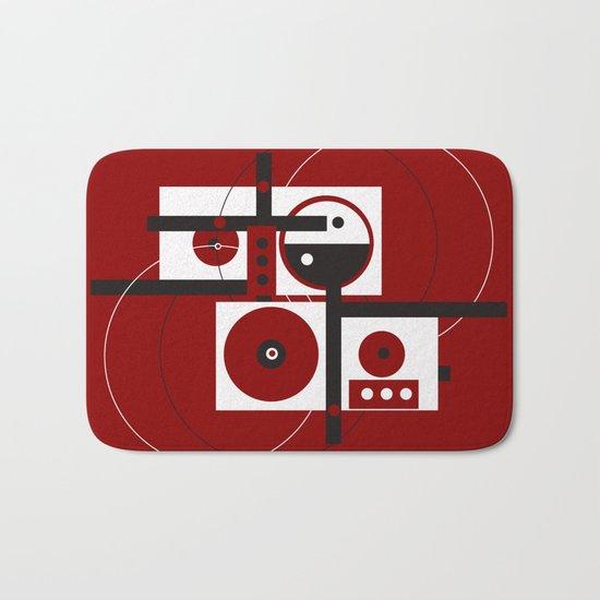 Geometric/Red-White-Black 2 Bath Mat