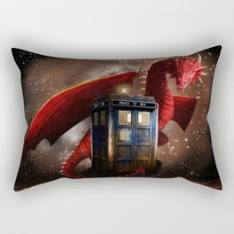 Red Dragon And Phone Box Rectangular Pillow