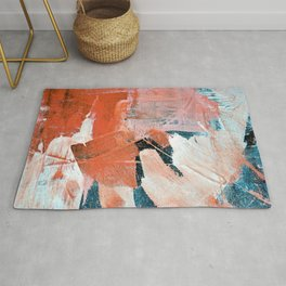Interrupt [3]: a pretty minimal abstract acrylic piece in pink white and blue by Alyssa Hamilton Art Rug