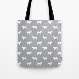 English Bulldog pattern grey and white minimal modern dog art bulldogs silhouette Tote Bag