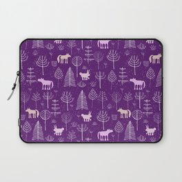 Modern hand painted violet pink white forest trees animals pattern Laptop Sleeve
