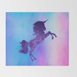 Purple Sparkly Unicorn Throw Blanket