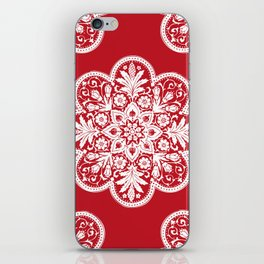 Floral Doily Pattern | Red and White iPhone Skin