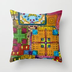 Colourful collage Throw Pillow