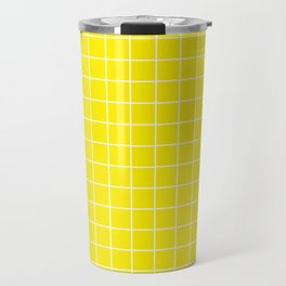 Yellow (process) - yellow color -  White Lines Grid Pattern Travel Mug