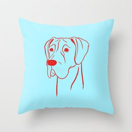 Great Dane (Cyan and Red) Throw Pillow