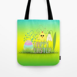 Happy Easter Egg, Chick and Snowdrop Tote Bag