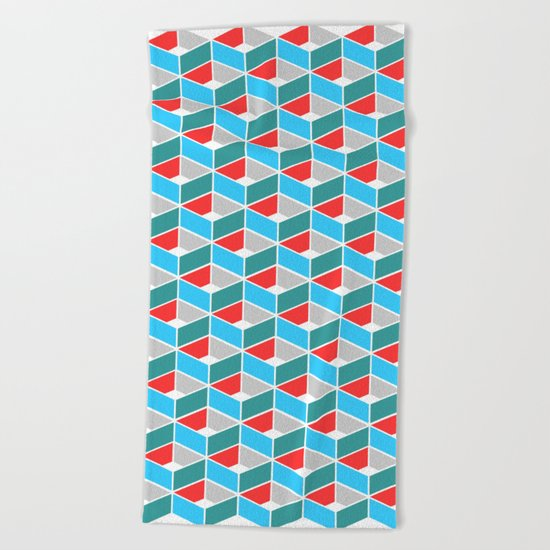 Simple Pattern Blue and Red Beach Towel