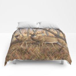 Whitetail Deer Trophy Buck and Doe in Autumn Comforters