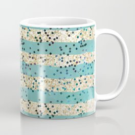 Teal and Gold Glitter with Polka Dots Coffee Mug