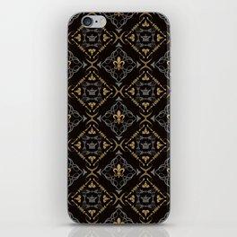 Fleur de Lis & Crown Pattern iPhone Skin