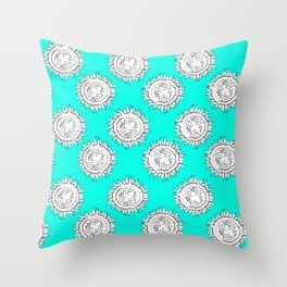 Spring is Here, Sunflower Illustration Throw Pillow