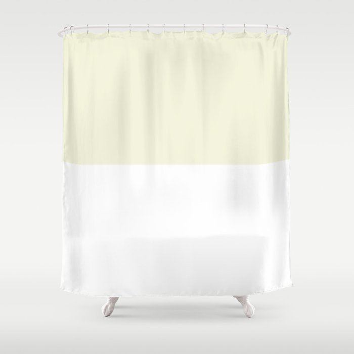 White and Beige Horizontal Halves Shower Curtain