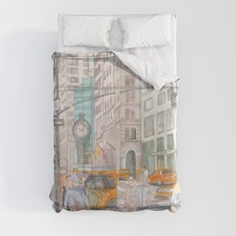 Reflection in the New York City windows II Duvet Cover