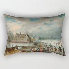 "Adam van Breen ""Skating on the Frozen Amstel River, 1611"" Rectangular Pillow"