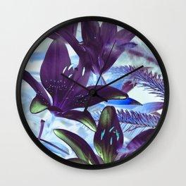 Moonlight Lillies Wall Clock