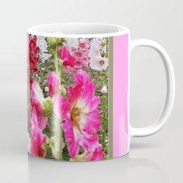 PINK & RED HOLLYHOCKS GARDEN ART Coffee Mug