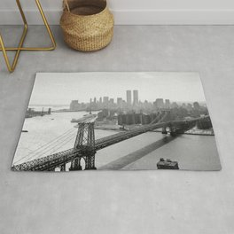 Williamsburg Bridge, East River at South Sixth St. & Twin Towers, New York City skyline photograph Rug