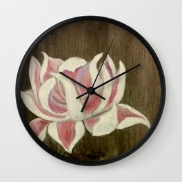 White and Pink Lotus Wall Clock