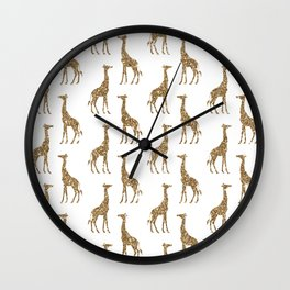 Gold Glitter Giraffe Pattern Wall Clock