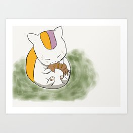 Fish-loving Anime Cat Art Print