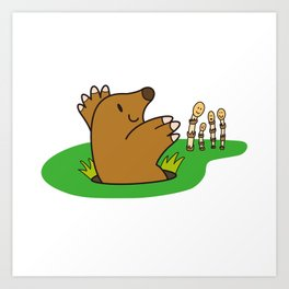 a Mole from the ground greets horsetail Art Print
