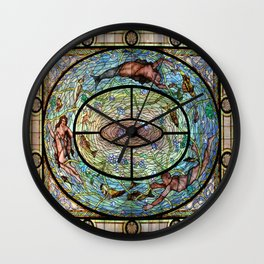 Mermaids in Stained Glass Wall Clock