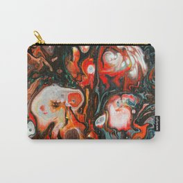 Fluid Art Acrylic Painting, Pour 22, Red, Gray, Black, & White Blended Color Carry-All Pouch