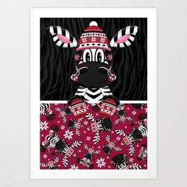 Bobble Hat Zebra Art Print
