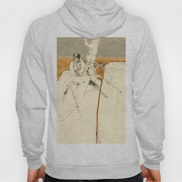 Nude Female Figure Drawing and Tree with Copper Grey Watercolour Hoody