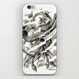Dragon Phoenix Tattoo Art Print iPhone Skin