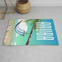 Aruba Hammock beach travel poster Rug
