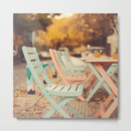 Dream Autumn (Pink and blue coffee shop chairs on retro and vintage fall) Metal Print