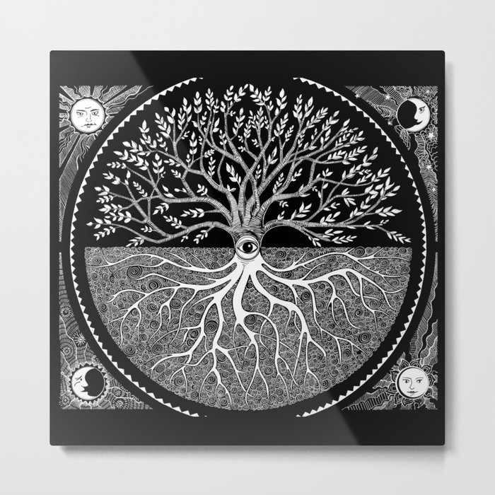 Druid Tree of Life Metal Print - Square Metal Wall Art