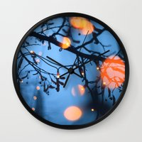 fireflies Wall Clocks featuring Fireflies by Den Brooks