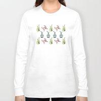 sticker Long Sleeve T-shirts featuring sticker monster pattern 5 by freshinkstain