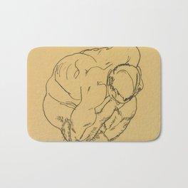 "Egon Schiele ""Crouching male nude"" Bath Mat"
