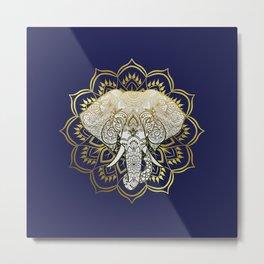 Golden Mandala Elephant Metal Print