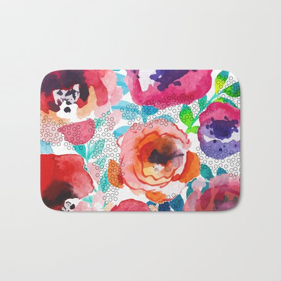 Watercolor flowers and circles Bath Mat