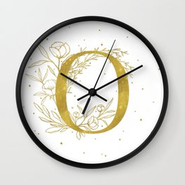 Letter O Gold Monogram / Initial Botanical Illustration Wall Clock