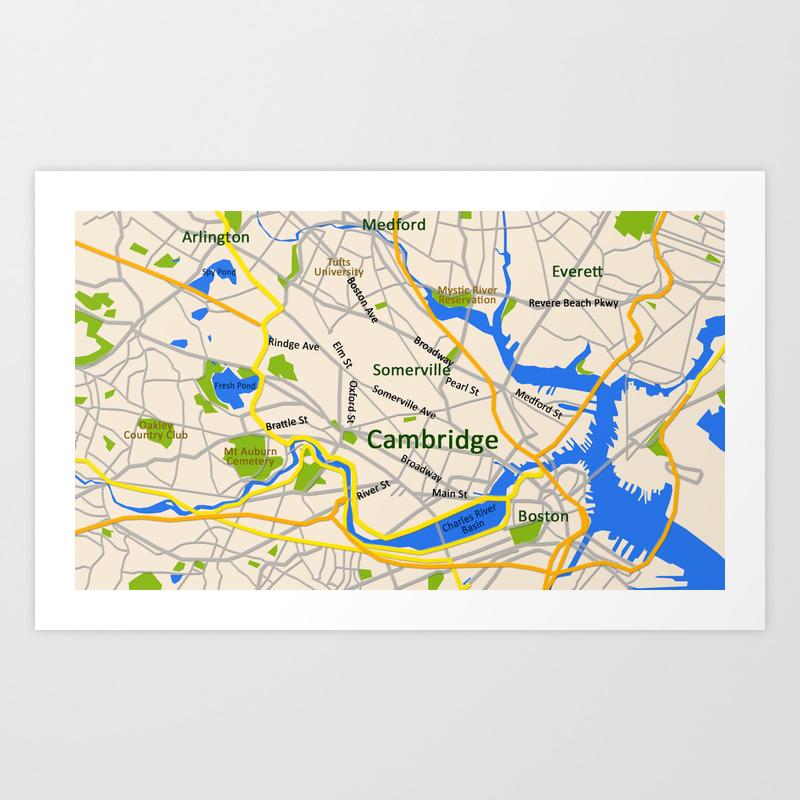 Map Of Cambridge Ma Map of Cambridge, MA, USA Art Print by efratul | Society6
