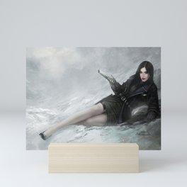 Gunslinger - Badass girl with gun in the snow Mini Art Print