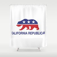 political Shower Curtains featuring California Political Republican Bear  by Republican