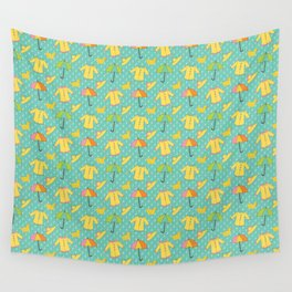 April Showers - Spring Rain Pattern Wall Tapestry