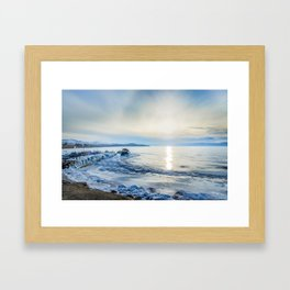 Frozen wharf and Halo Framed Art Print