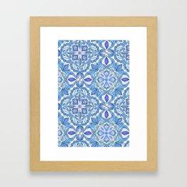 Cornflower Blue, Lilac & White Floral Pattern Framed Art Print