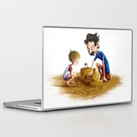 neil gaiman Laptop & iPad Skins featuring Father and Son at the beach, by Neil Price by Neil Price